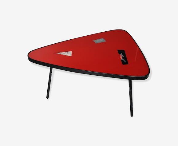 Table basse tripode vintage - bois (Matériau) - rouge - vintage ...