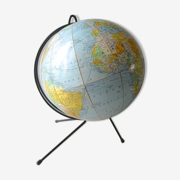 Mappemonde, globe terrestre Girard et Barrere des années 60