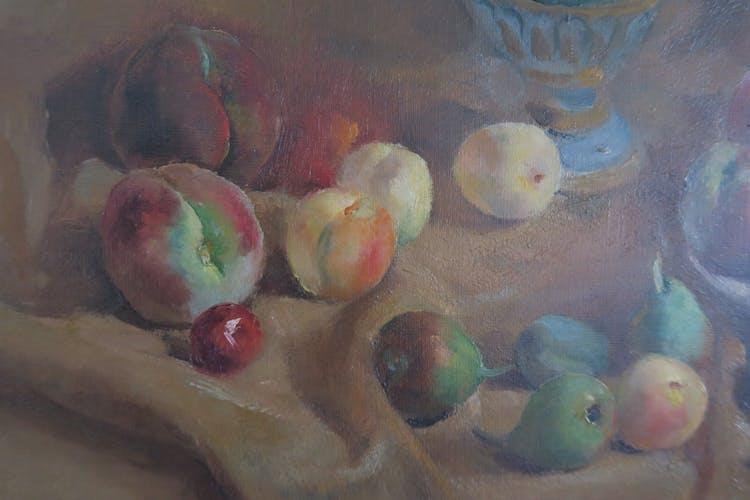 Nature morte fruits vintage signée Vidal Rolland