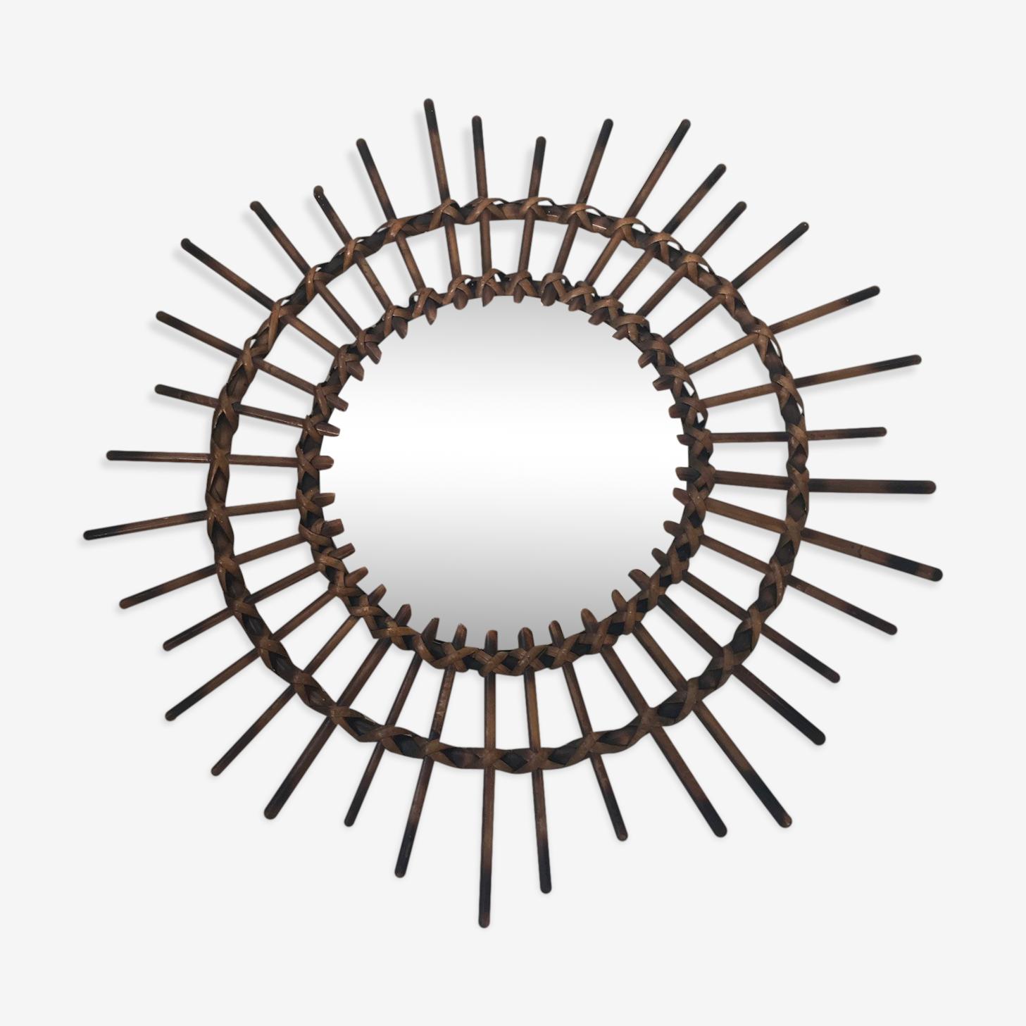 Ancien miroir soleil en rotin 1960 - 58x58cm