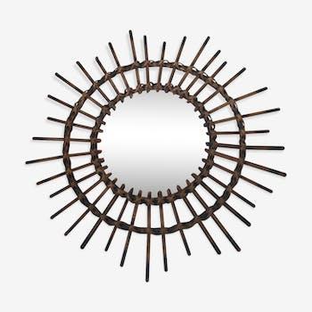 Old rattan sun mirror 1960 - 58x58cm