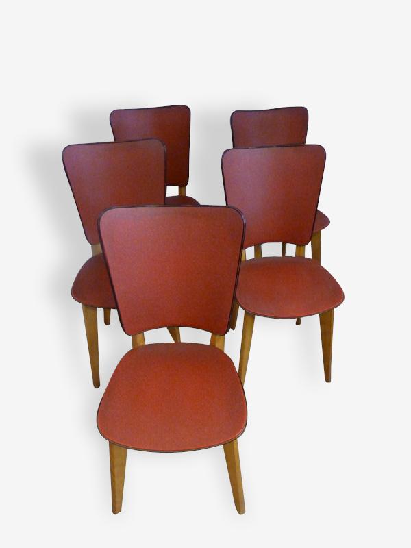 5 chaises bois et skaï 50′