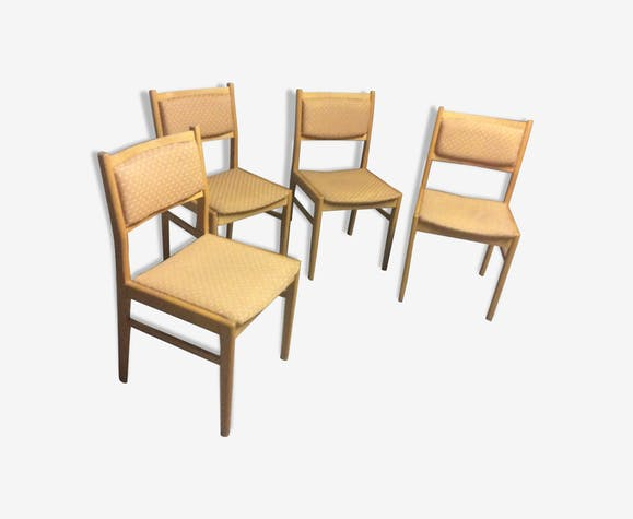 4 BEECH & FABRIC CHAIRS