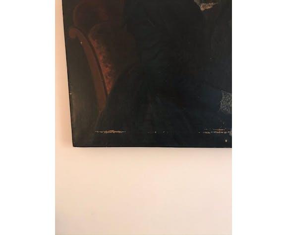 Portrait de femme huile sur toile XIXe