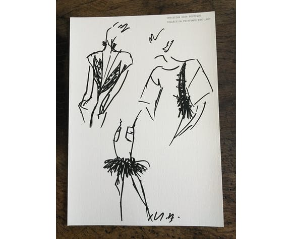 "Illustration de mode de presse - collection printemps - été 1987"" Christian Dior"