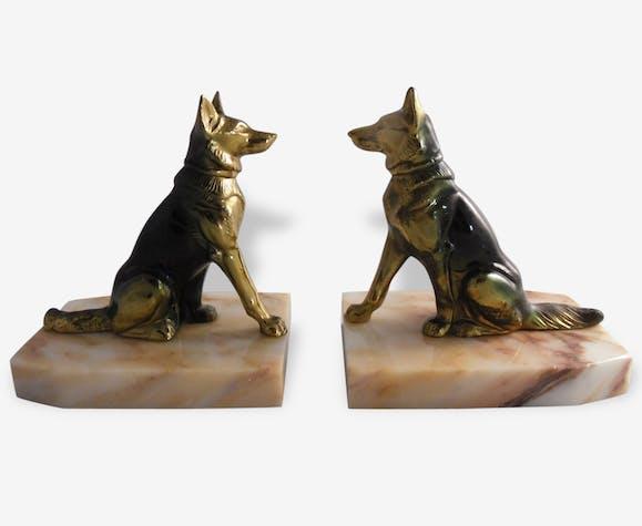 Ancien Serre livre art déco marbre et régule forme chien berger allemand signé Tedd