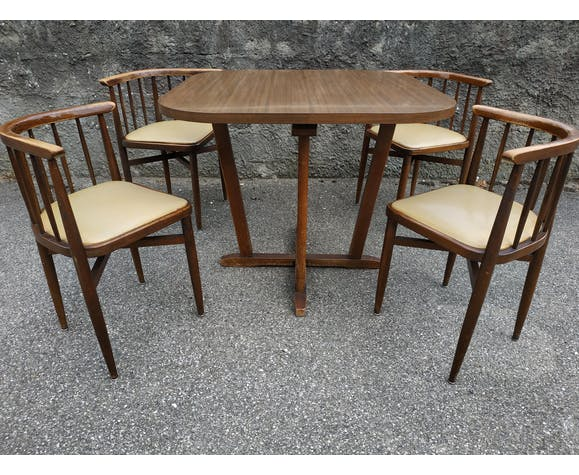 Table Et Chaises Encastrable Thonet Annees 60 Selency