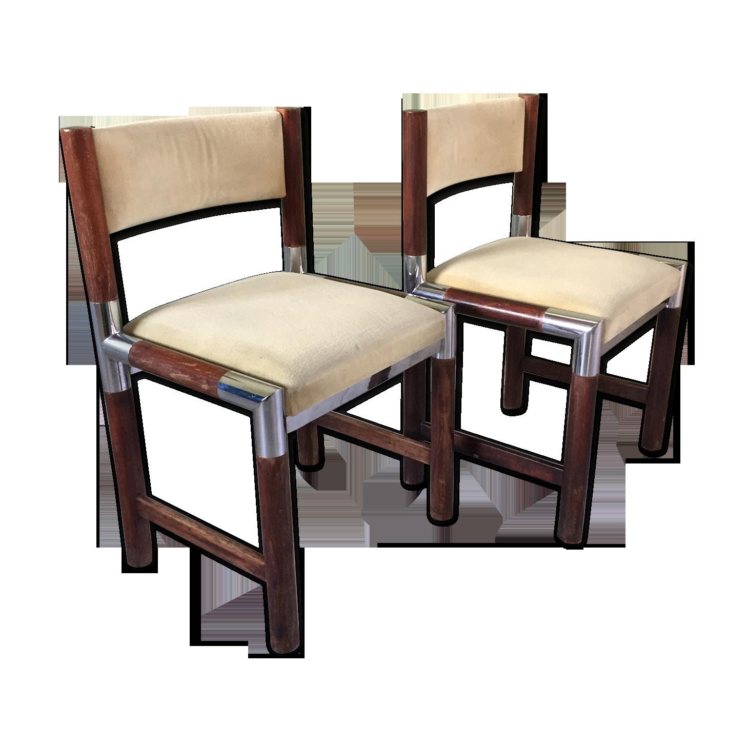 Pair of roche bobois chairs wood beige vintage eqadagu