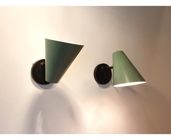 Metal wall lamps by Jacques Biny, 1950