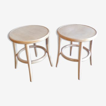 Pair of curved wooden stools