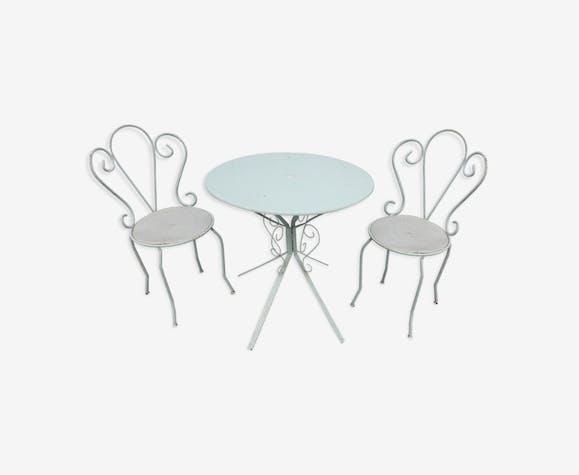 Table de jardin & chaises enfants fer forgé - fer - vert - vintage ...