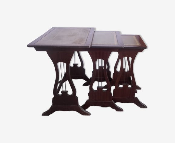 Tables gigognes bois dessus cuir style Empire