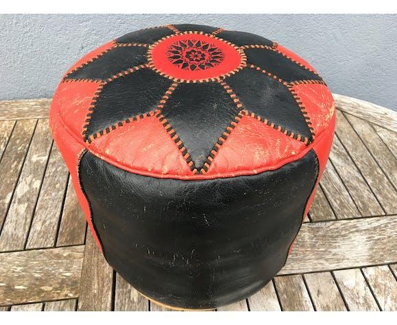 Pouf Marocain cuir circa 1970
