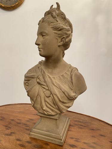 Terracotta bust of Diana the Huntress from Houdon, 19th century.