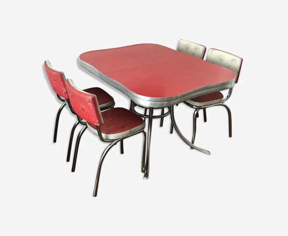 Table And 4 Chairs Cincinnati Ohio 60s Formica Red Vintage