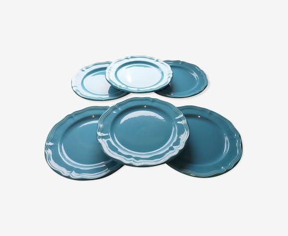 6 assiettes bleues