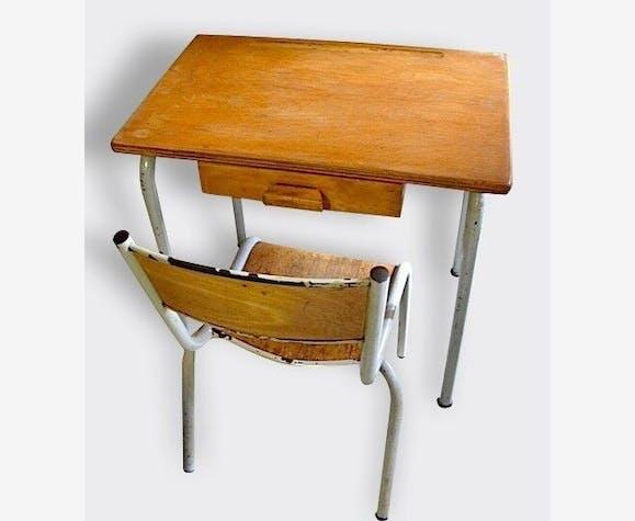 ensemble vintage d 39 cole bureau chaise de classe maternelle 1960 70 39 s m tal marron. Black Bedroom Furniture Sets. Home Design Ideas