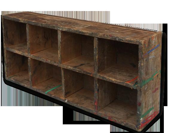Caisse bois brut rangement compartiments organiseur étagère