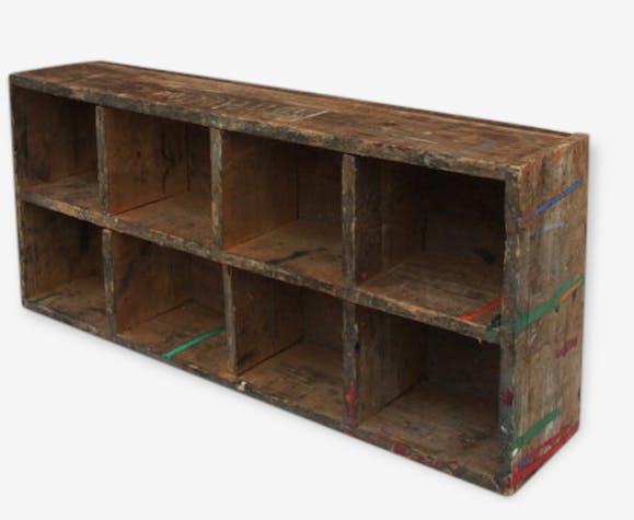 caisse bois brut rangement 8 compartiments organiseur tag re bois mat riau bois couleur. Black Bedroom Furniture Sets. Home Design Ideas