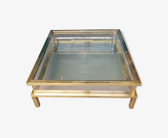 Table basse vitrine design des ann es 70 en laiton et for Table basse vitrine
