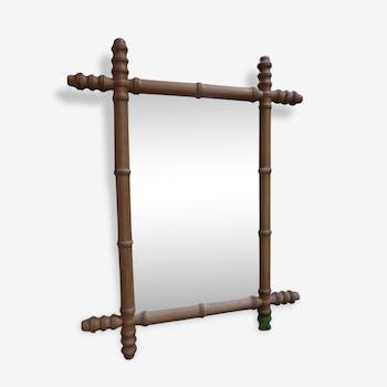 Miroir vintage en bois, imitation bambou