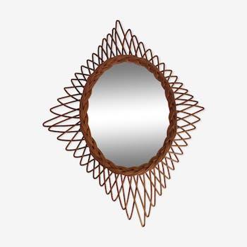 Mirror rattan 50/60 60x46cm