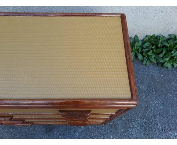Commode vintage en rotin et bambou