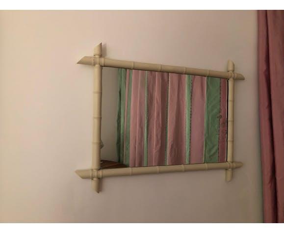 Mirror vintage wood painted bamboo way 66x90cm