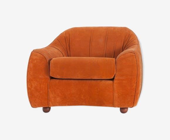 Fauteuil italien moderne en daim orange du milieu du siècle 1960
