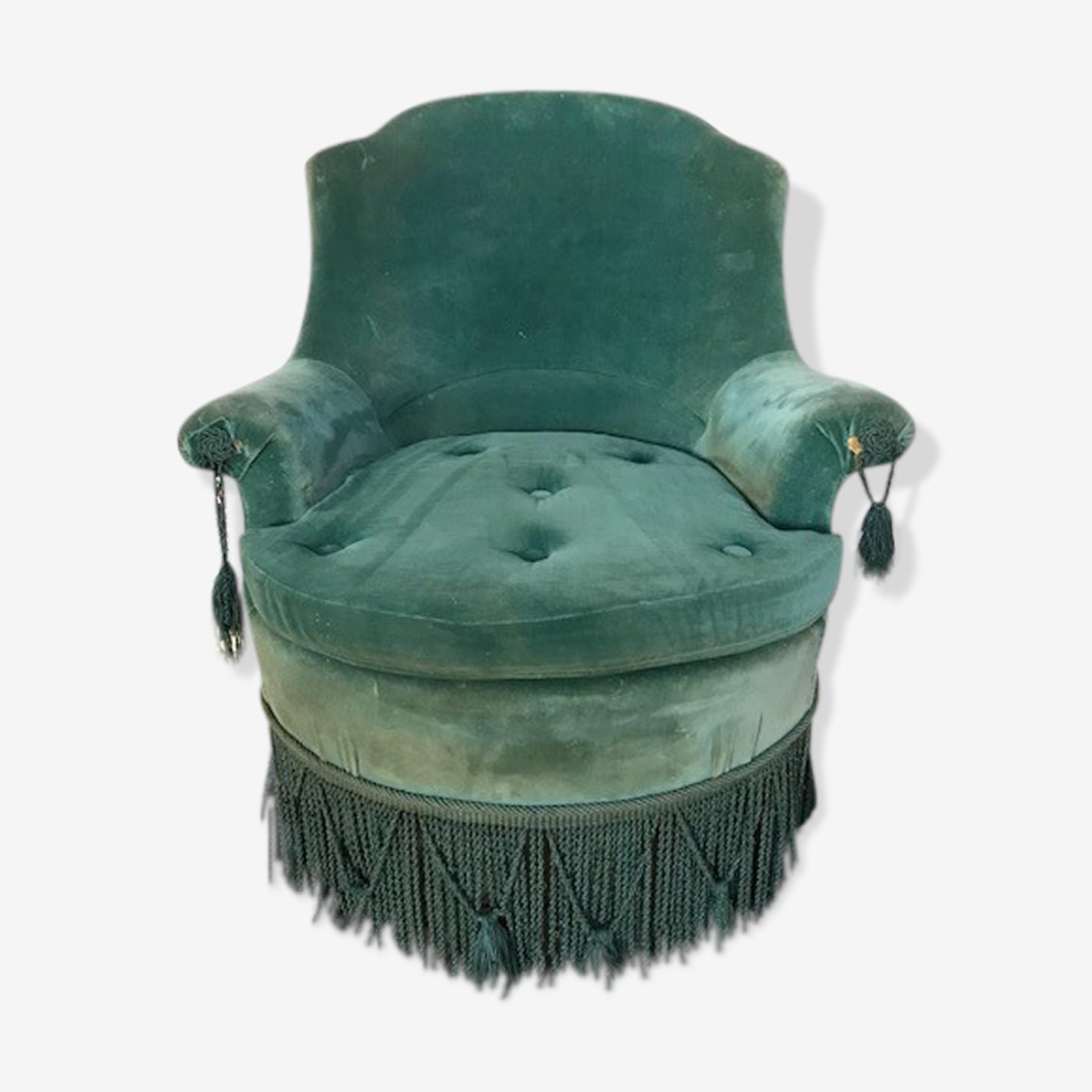 Blue duck velvet armchair