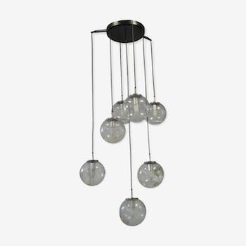 Suspension lamp cascade Limburg lights globes 70s edition
