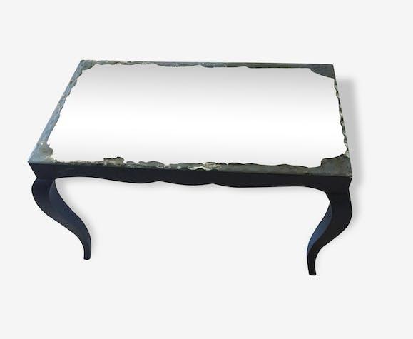 petite table basse ancienne avec miroir bois mat riau. Black Bedroom Furniture Sets. Home Design Ideas