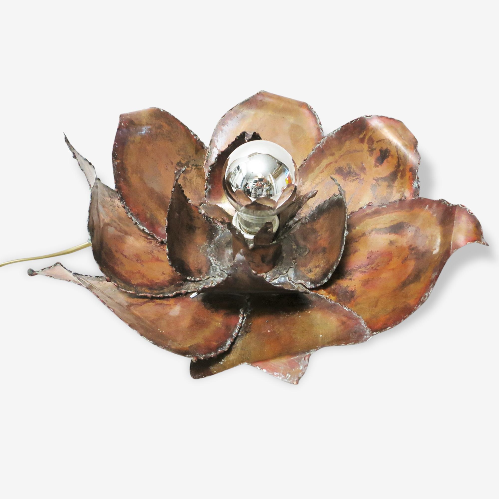 Lampe Fleur En Cuivre Copper Brown Vintage 148887
