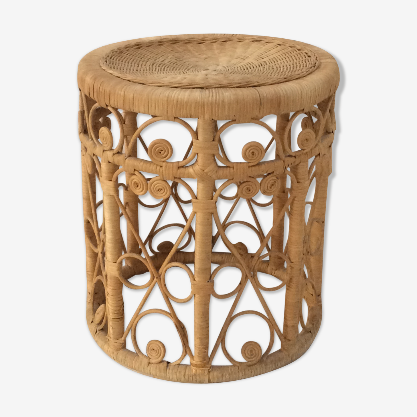 Pretty coffee table, stool, or peacock rattan bedside
