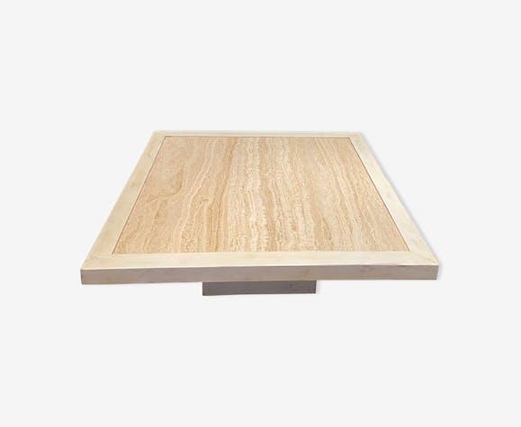 Table basse bois et travertin