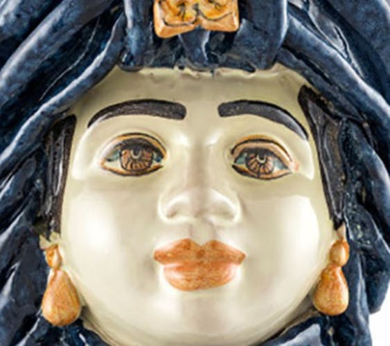Vase turban bleu femme