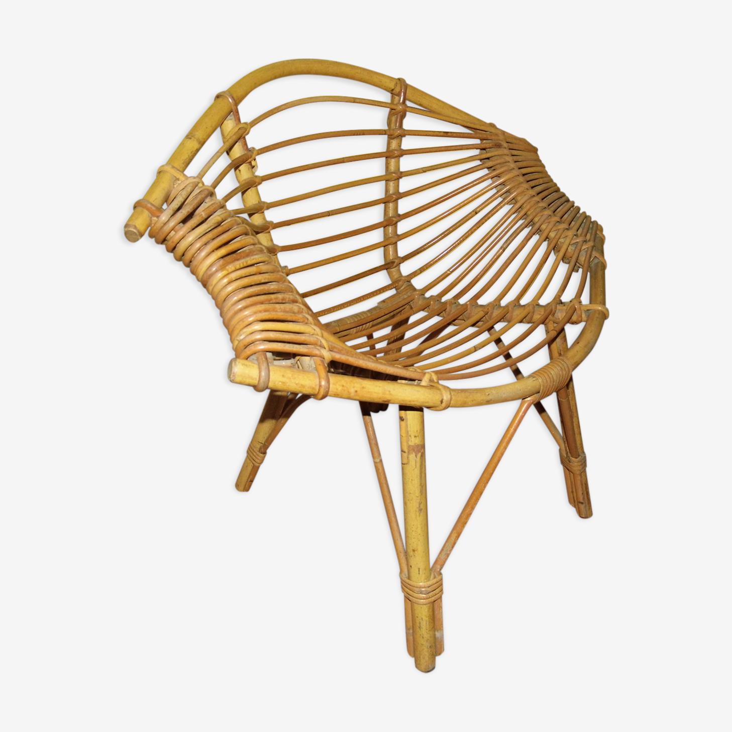 Rattan armchair vintage model lemon