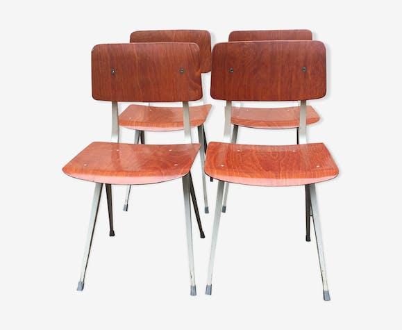 Lot 4 chaises estampillées de salle à manger « Result » par Friso Kramer pour Ahrend de Cirkel années 1970 et 1973