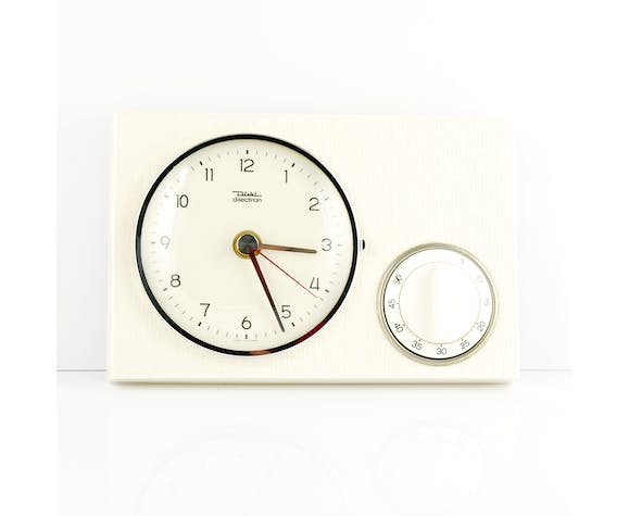 Ceramic kitchen clock with a timer by Diehl, Germany 60's