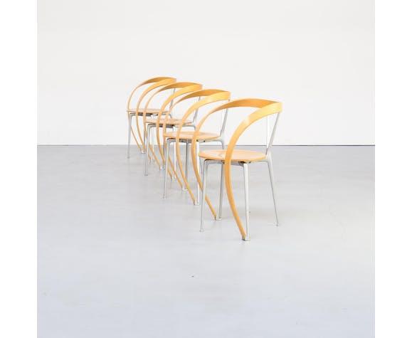 """Lot de 4 chaises """"Revers"""" Andreas Branzi pour Cassina 90"""