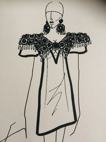 Fashion illustration by Paco Rabanne from the 90