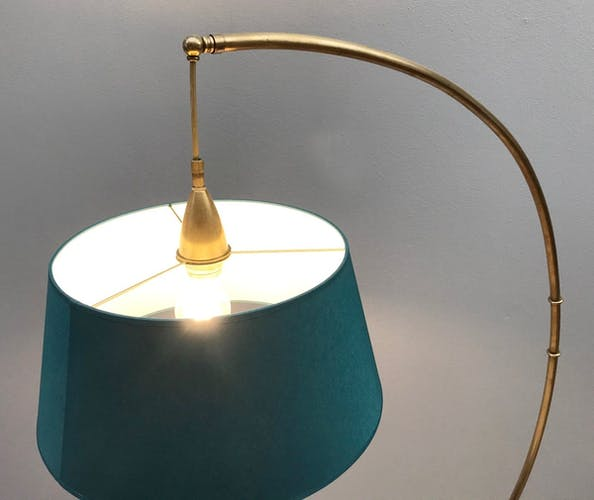 Lampadaire arc en laiton par J. T. Kalmar pour Kalmar 1950s
