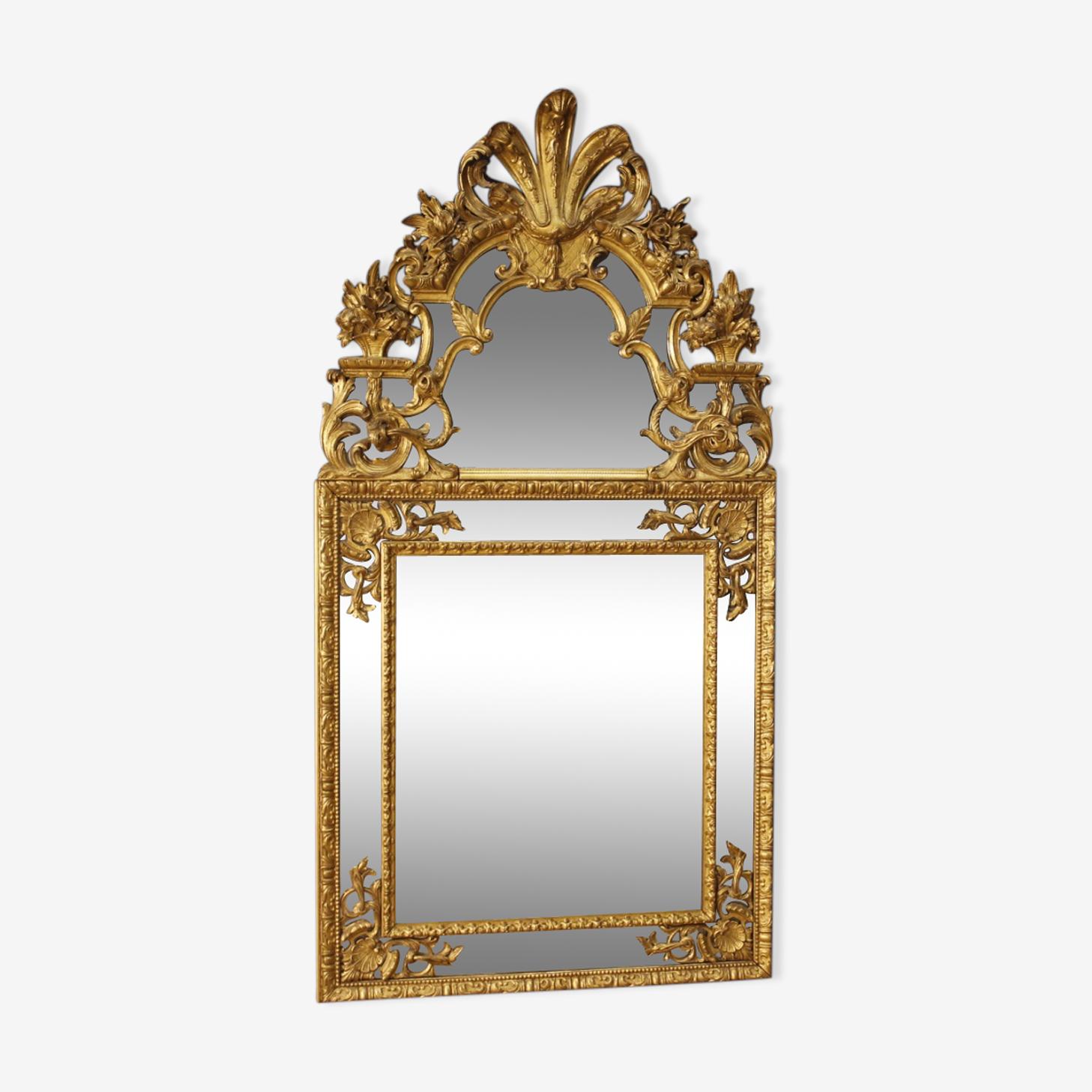Miroir français en bois doré de style Louis XIV 101x192cm