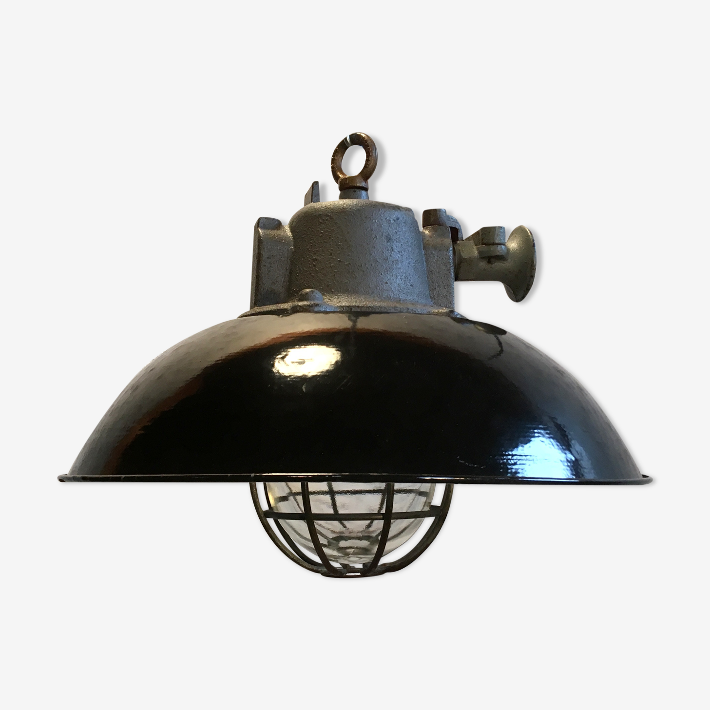 Black Enamel & Cast Iron Industrial Cage Pendant Lamp, 1950s