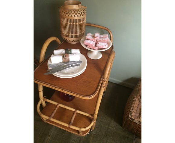 Bamboo rattan serving table