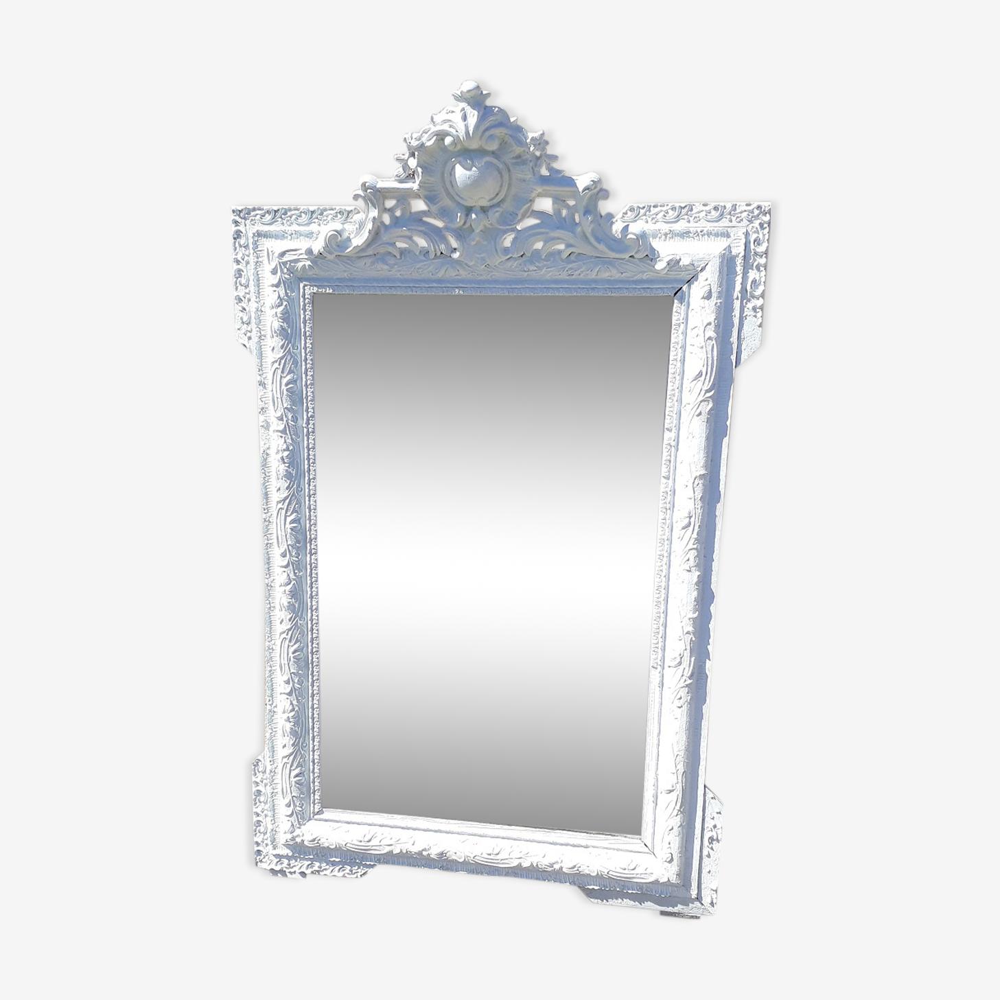 Miroir à orreilles Louis XV fronton shabby chic 119x73cm
