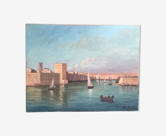 Oil on canvas: the port of Marseille