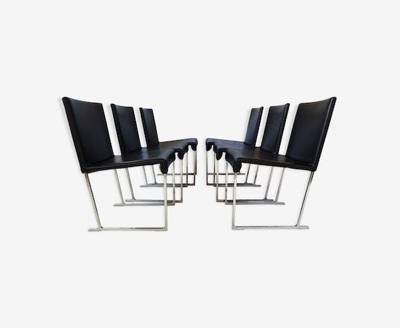 Chaises de salon Maxalto Solo en cuir noir par Antonio Citterio pour B&B Italia 2006