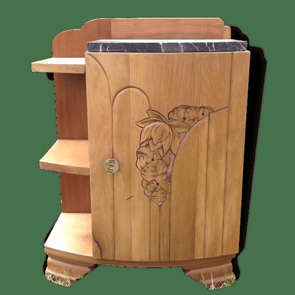 table de chevet table d 39 appoint ann es 30 40 bois mat riau bois couleur art d co. Black Bedroom Furniture Sets. Home Design Ideas