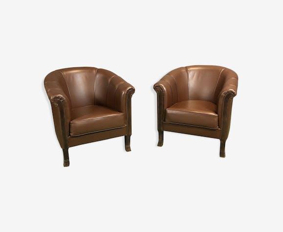 Paire club marron de en fauteuils moderne cuir cuir L3jR54A